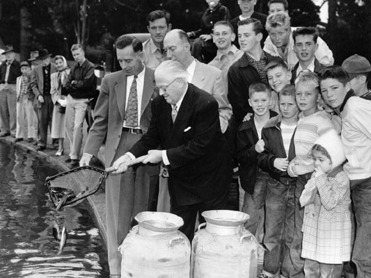 Elmer Robinson releases first fish in Spreckels Lake 1953 AAA-7967.jpg