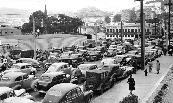 Cars parked near Farmers Market Duboce and Market Aug 2 1947 AAC-4804.jpg