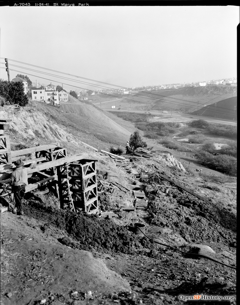 Nov 24 1941 View Southeast toward Alemany Boulevard and Silver Terrace from the east edge of St. Mary's Park (St. Mary's Recreation Center) DPW A7043 wnp26.051.jpg