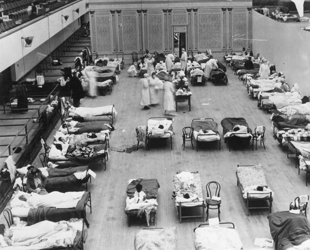 Oakland Civic Auditorium during flu pandemic 1918 Oakland Public Library.jpg