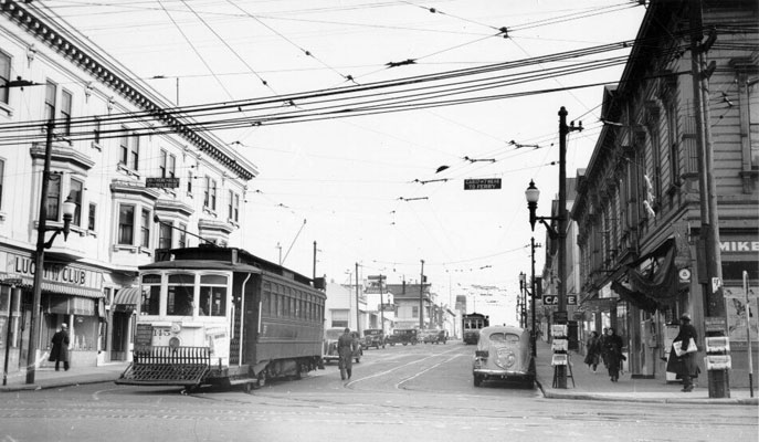 Image:Streetcar at Haight and Stanyan 1940 AAB-3957.jpg
