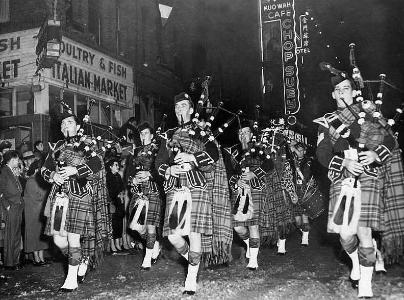 Bagpipers-in-Chinese-New-Years-parade SF-Chronicle,-1953-Dupont-Street-1.jpg