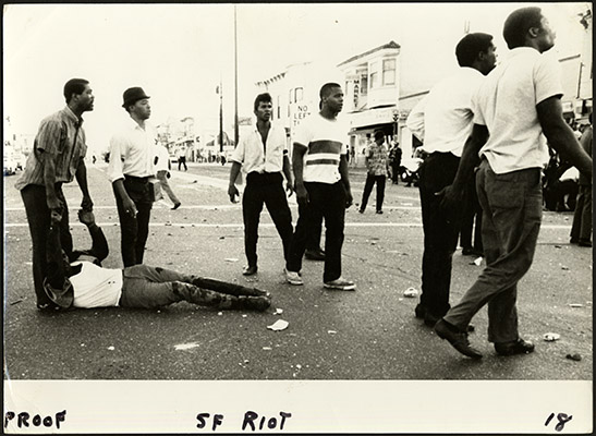 Protesters in the 1966 Bayview-Hunters Point riots AAK-1648.jpg