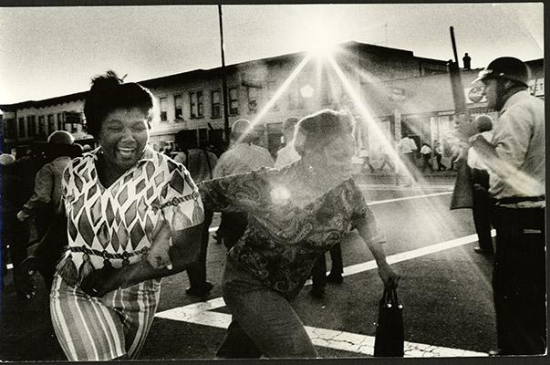 Screaming women flee the riot area during the Bayview-Hunters Point 1966 riots AAK-1654.jpg