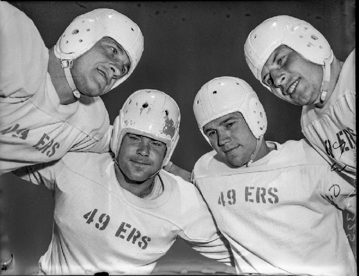 San Francisco 49ers backfield of (L-R) Len Eshmont, Norm Standlee, Frankie Albert and John Strzykalski, August 1946. (wnp14.5057; Examiner Negative Collection Courtesy of a Private Collector) wnp14.5057.jpg