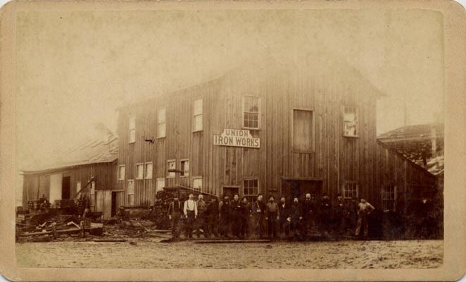 Workers outside Union Iron Works bldg nd AAK-1204.jpg