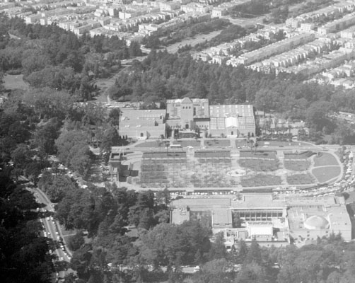Aerial view of Golden Gate Park looking northwest at the Bandstand, De Young Museum, Steinhart Aquarium & the Academy of Science 1970 AAA-6845.jpg