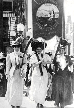 Leading a march of 300 women of the California Equal Suffrage Association in Oakland August 27 1908 were l to r Lilllian Harris Coffin Mrs Theodore Pinther Jr and Mrs. Theodore Pinther Sr.jpg