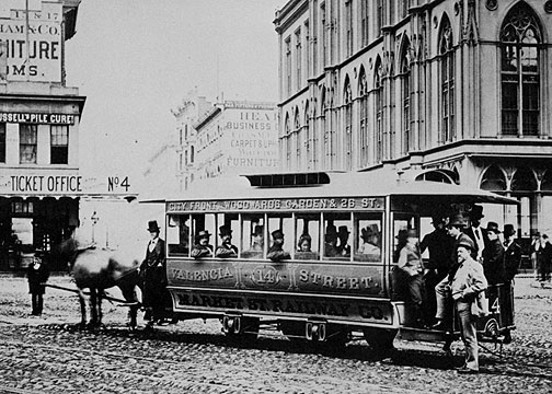 Image:Woodwards-Gardens-no-14-horsecar-at-Post-and-Market-1860s.jpg