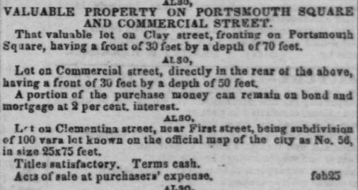 Daily Alta California March 1, 1852, Vol. 3, No. 60 Clementina Street.png