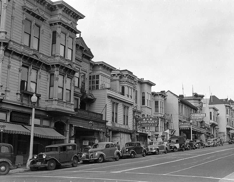 View of business district on Post Street Nippon-Drug-becomes-Bop-City-by-Dorothea-Lange NARA - 536044.jpg