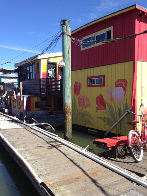 Painted Houseboats at Gates Cooperative.JPG