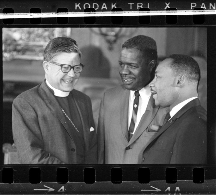 Dr Martin Luther King at Grace Cathedral with Bishop James Pike and Reverend George L Bedford May 29 1964 BANC PIC 2006.029 138917.01.03--NEG.jpg
