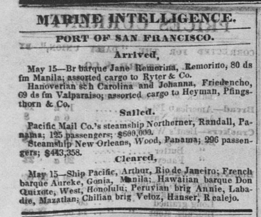 Sacramento Daily Union May 17, 1851 Vol. 1, No. 52 Annie.jpg