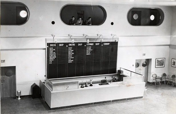 Dispatching hall at Sailors Union Of The Pacific headquarters Sept 1950 AAD-5685.jpg