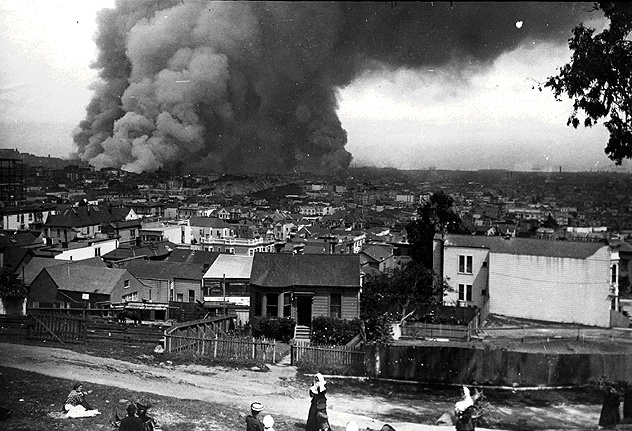 san francisco earthquake of 1906. The 1906 fire blazes as seen