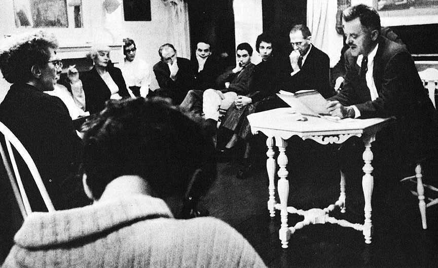Feb-5-1957-l-to-r-Ida-Hodes---Eva-Triem---unidentified-woman---Jack-Spicer---James-Broughton---Philip-Lamantia---Ariel-Parkinson---William-Everson---Kenneth-Rexroth-reading.jpg