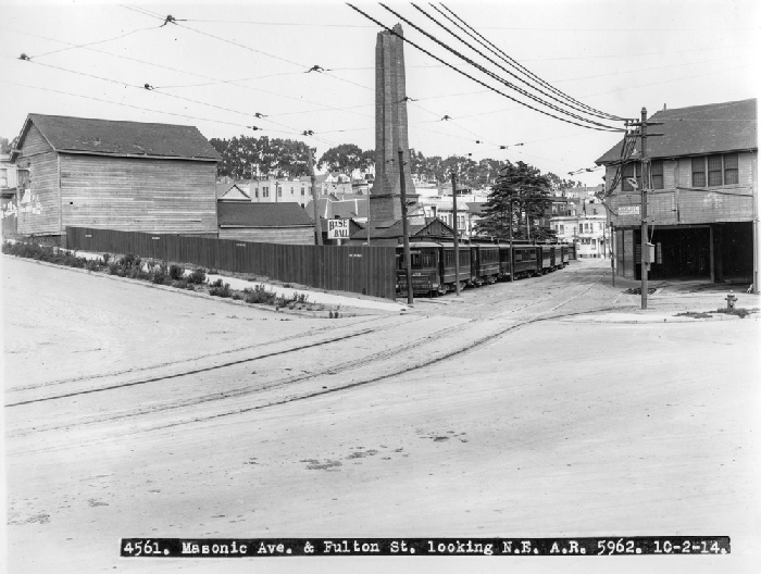 Fulton and Masonic looking northeast at McAllister Car Barn and Powerhouse with broken smokestack, October 2, 191 wnp27.6379.jpg