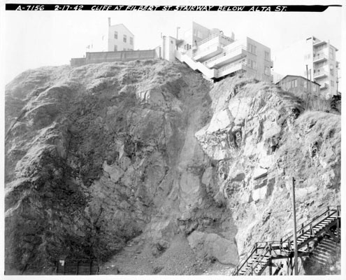 Cliff at Filbert St. stairway below Alta St. feb 15 1942 AAC-1431.jpg