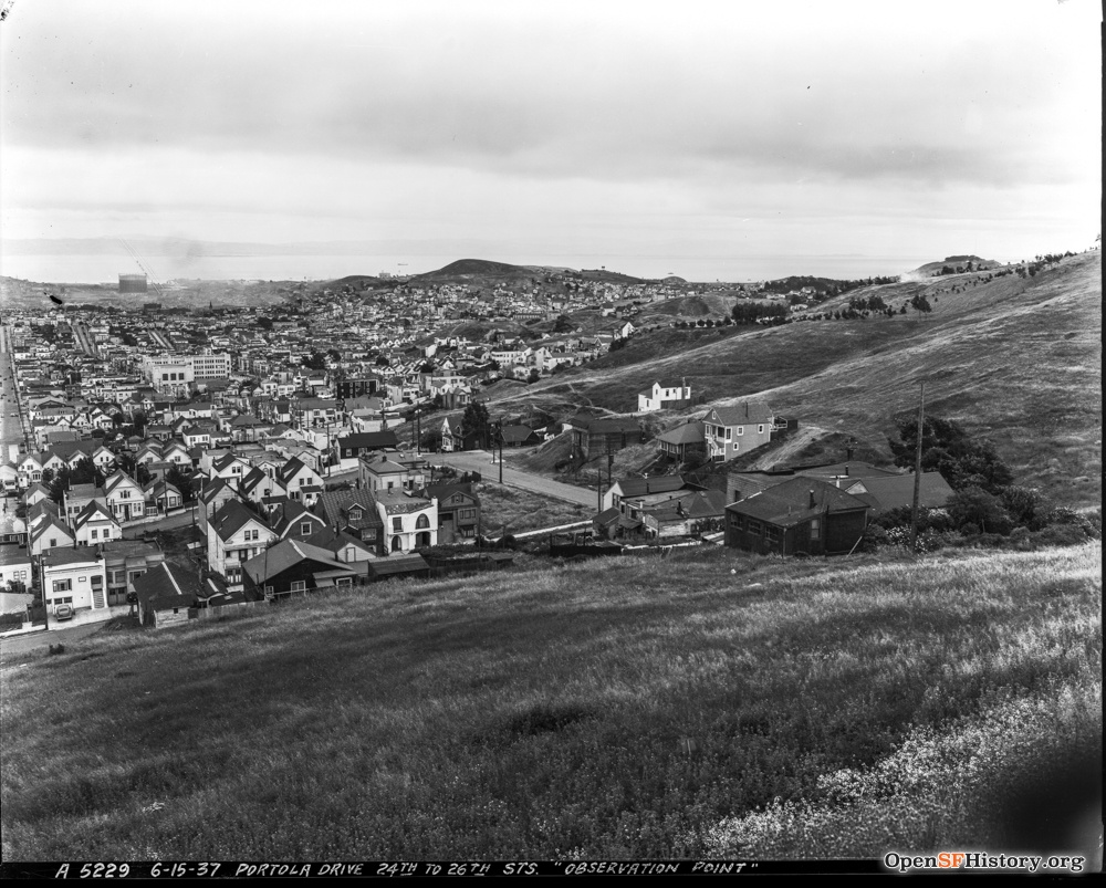 June 15 1937 View of Bernal and Noe Valley. Observation Point - Portola Drive at 24th - Bernal-Noe Valley DPW A5229 wnp26.040.jpg