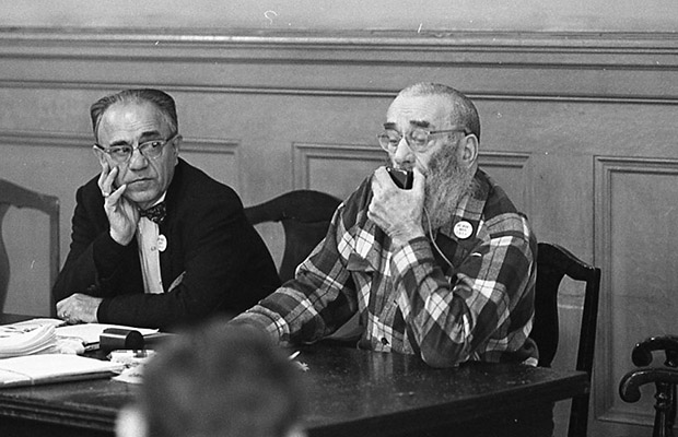 File:George Woolf (right) and Peter Mendelsohn (left) on panel at a meeting of Tenants and Owners in Opposition to Redevelopment (TOOR) at Milner Hotel, 117 4th Street Dec 1970 TOR-0127.jpg