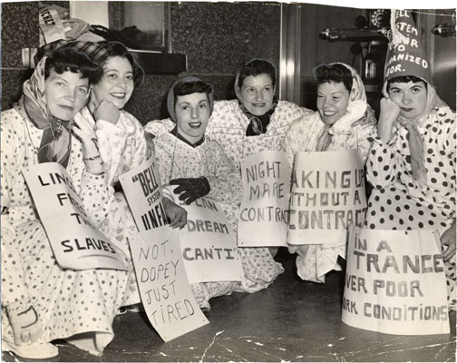 File:Striking employees dressed in nightgowns on picket line at the Pacific Telephone and Telegraph Companys 25th and Mission streets telephone exchange July 24 1951 AAD-5619.jpg