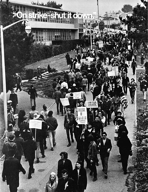 A strike on San Francisco State College's campus