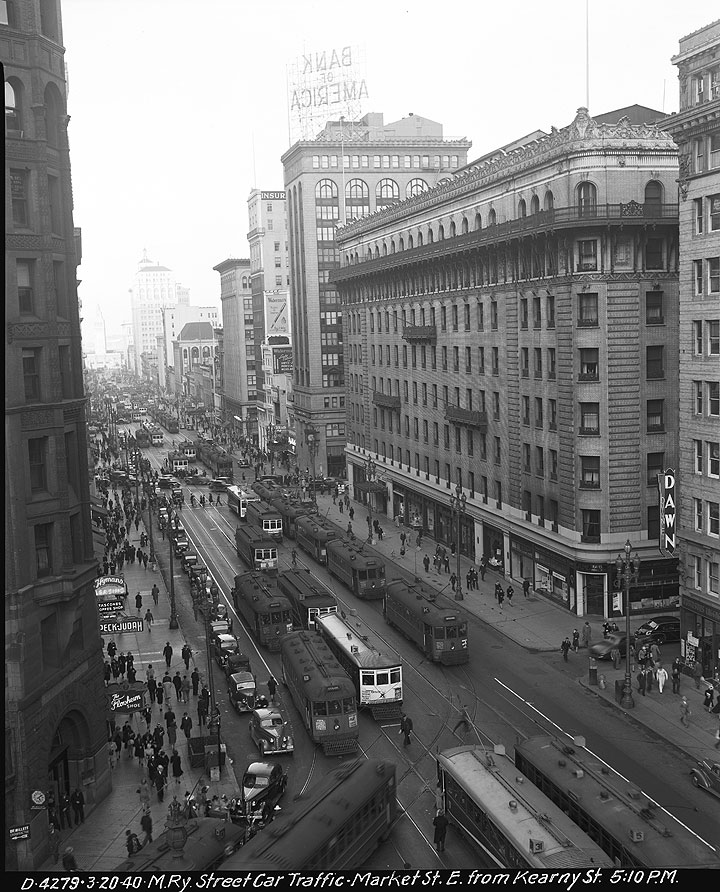 Streetcar-Traffic-View-from-Above-on-Market-Street-Looking-East-from-Kearny-at-5-PM March-20-1940 D4279.jpg