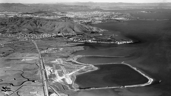 San Francisco Airport 1939 9000 foot seawall defined a seaplane harbor and 315 acre extension of airfield pub 2009.104.037 0.jpg