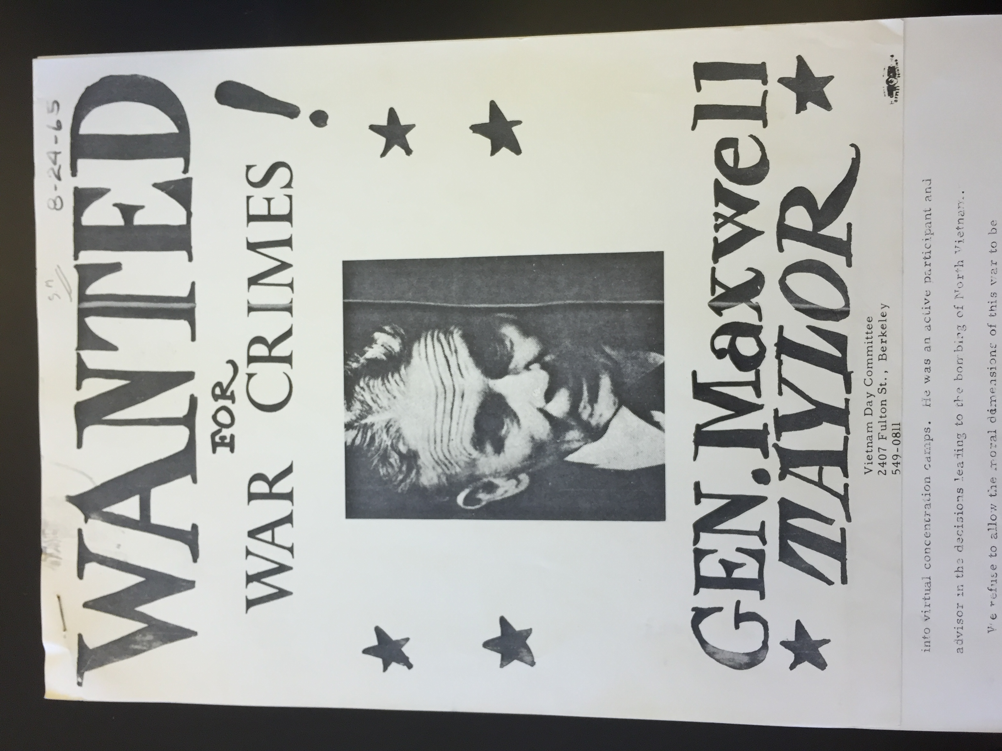 File:General Maxwell Taylor War Criminal Poster JPG - FoundSF