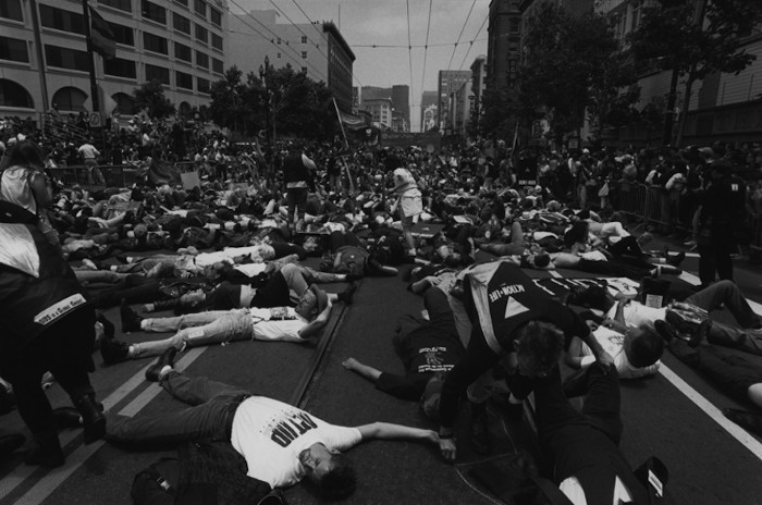 ACT-UP Die-In 1990 Market at UN Plaza.jpg