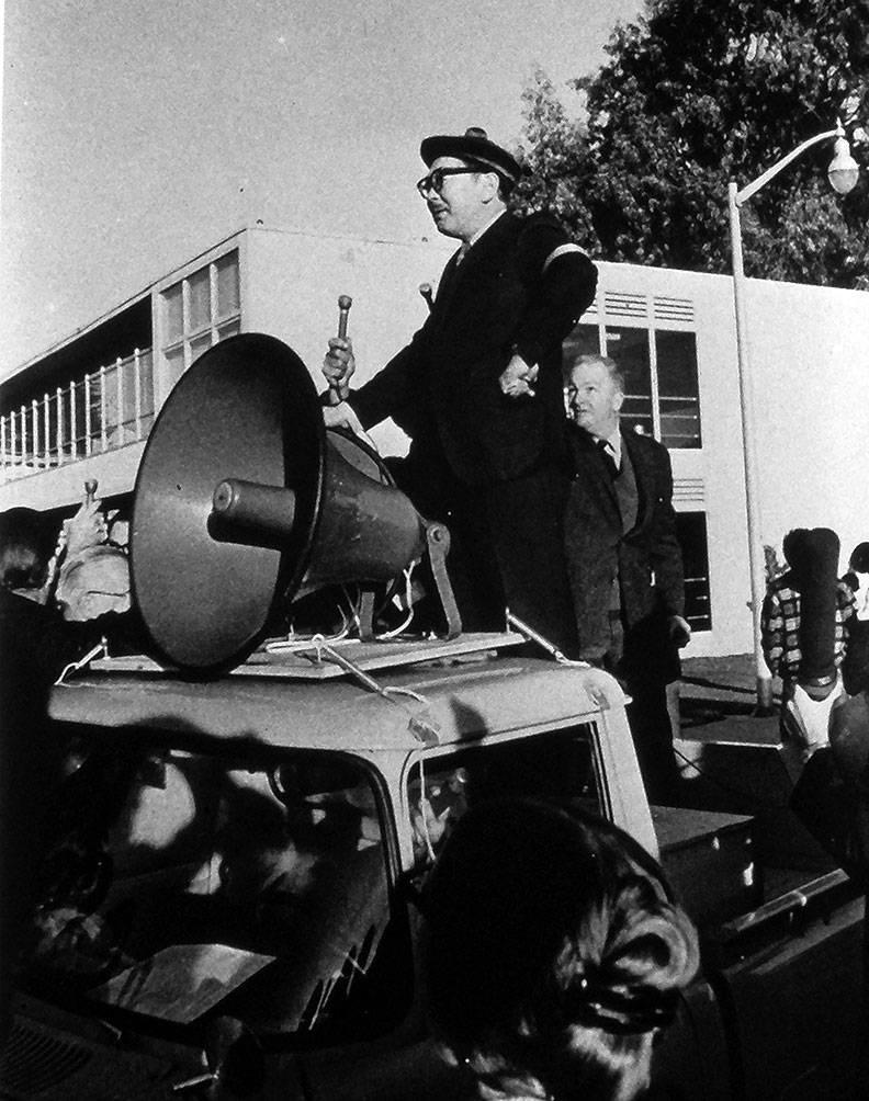 S.I. Hayakawa on sound truck 1968