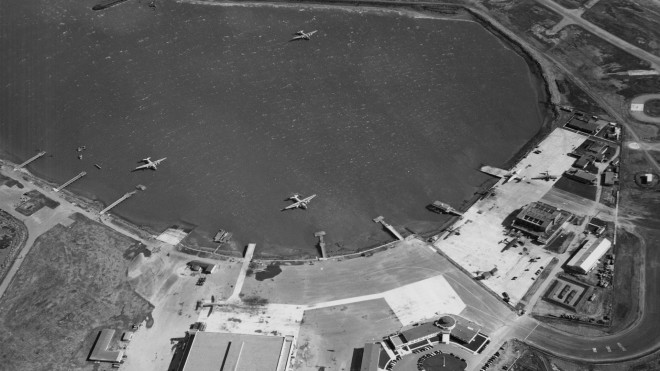 Pan American Airways Boeing 314 flying boats moored at San Francisco Airport 1946 pub 2000.058.1407 0.jpg