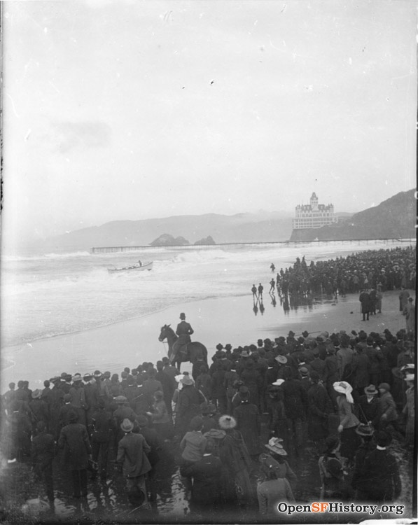 Crowds watching Life Saving Service lifeboat in surf View north towards Cliff House and Seal Rocks. wnp4.1146.jpg