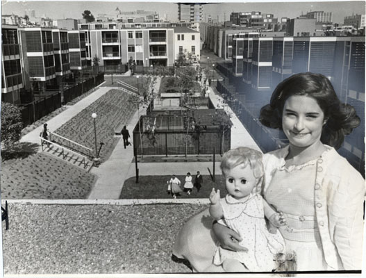 St Francis aug 7 1963 Portrait of Julie Solomon with view of St. Francis Square housing project in background AAD-6097.jpg