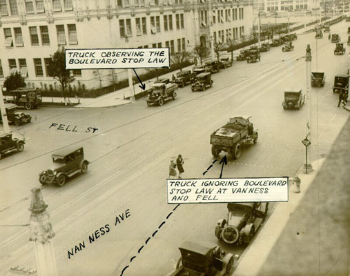 Automobile traffic at Van Ness Avenue and Fell Street feb 3 1927 AAB-5687.jpg