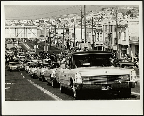 Matthew Johnson Jr.s funeral procession on Third Street after the 1966 Bayview-Hunters Point riots AAK-1660.jpg