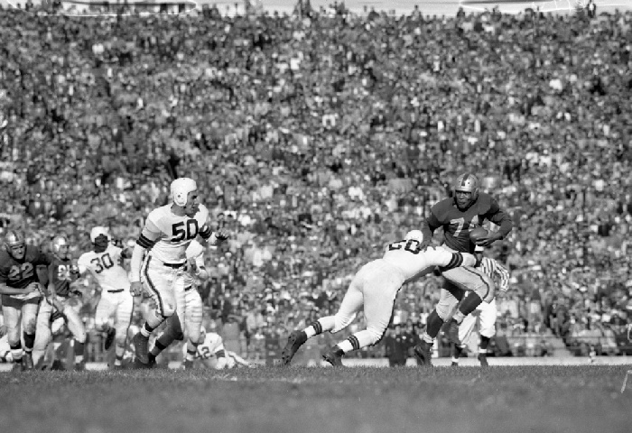 49er running back Joe Perry carrying the ball against the Cleveland Browns, November 28, 1948 wnp14.6397.jpg