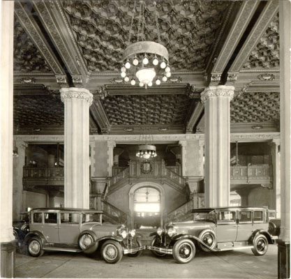 Interior of Don Lee automobile showroom at Van Ness Avenue and O'Farrell Street 1929 AAD-4656.jpg
