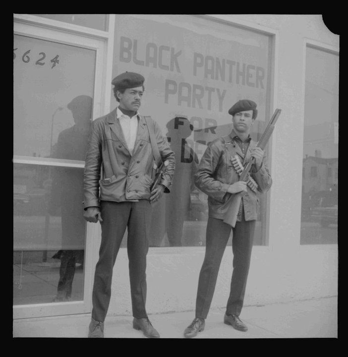 Bobby George Seale and Huey Newton of the Black Panther Party for Self Defense in Oakland, April 25, 1967 BANC PIC 2006.029 139458N.01.01--NEG.jpg