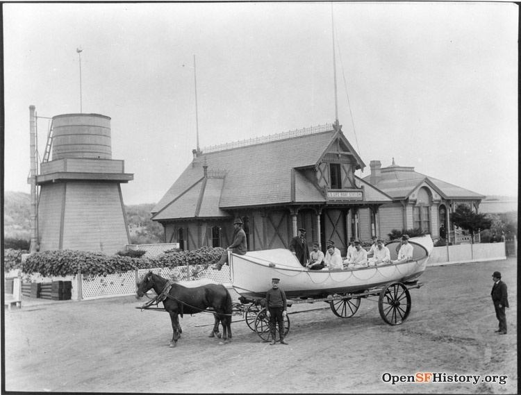 US Life Boat Station with crew and boat on horsedrawn wagon wnp4.1137.jpg
