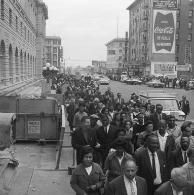 File:Crowd protesting Birmingham bombing on 7th looking towards Mission, 1963 FID40.jpg