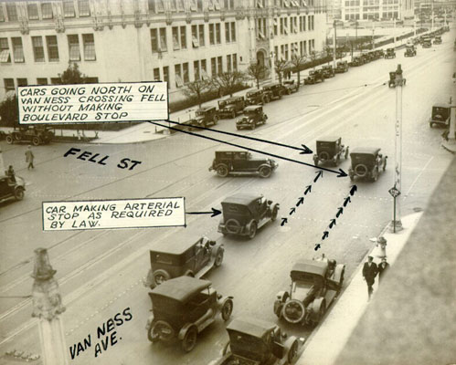 Automobile traffic at Van Ness Avenue and Fell Street feb 3 1927 AAB-5686.jpg