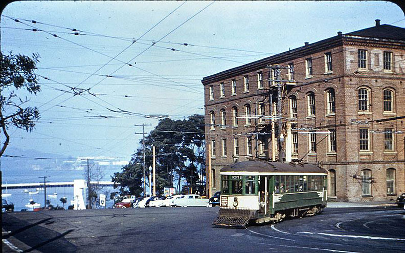 F-Stockton-now-30-turns-from-North-Point-to-Van-Ness-in-Dec-1950-during-Korean-War-when-Fontana-Warehouse-was-used-as-a-motor-pool-for-the-Army--from-Fred-Matthews-slide-in-Emiliano-Echeverria-collection.jpg