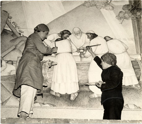 File:June 16 1934 Helen Forbes (left) and Dorothy Puccinelli (right), painting Fleishhacker Motherhouse mural MOR-0352.jpg