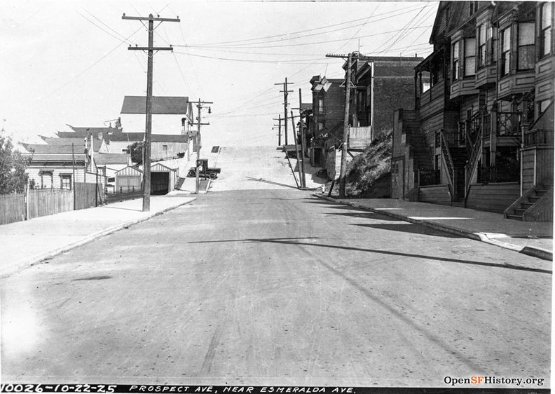 Oct 22 1925 Prospect Ave looking northeast, near Esmeralda on right just beyond fire hydrant, not yet made into steps. dpwbook35 dpw10026 Two small garages on left still extant. wnp36.03277.jpg