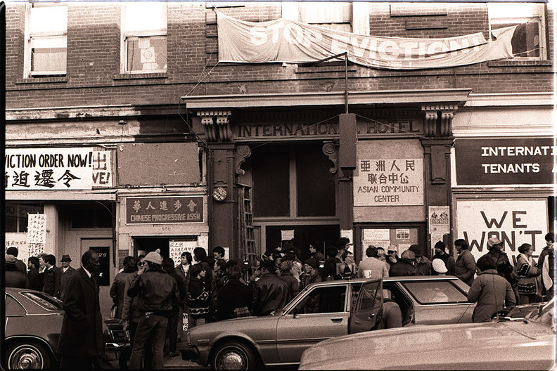 Protesters form in front of the I-Hotel, January 1977 Nancy Wong.jpg