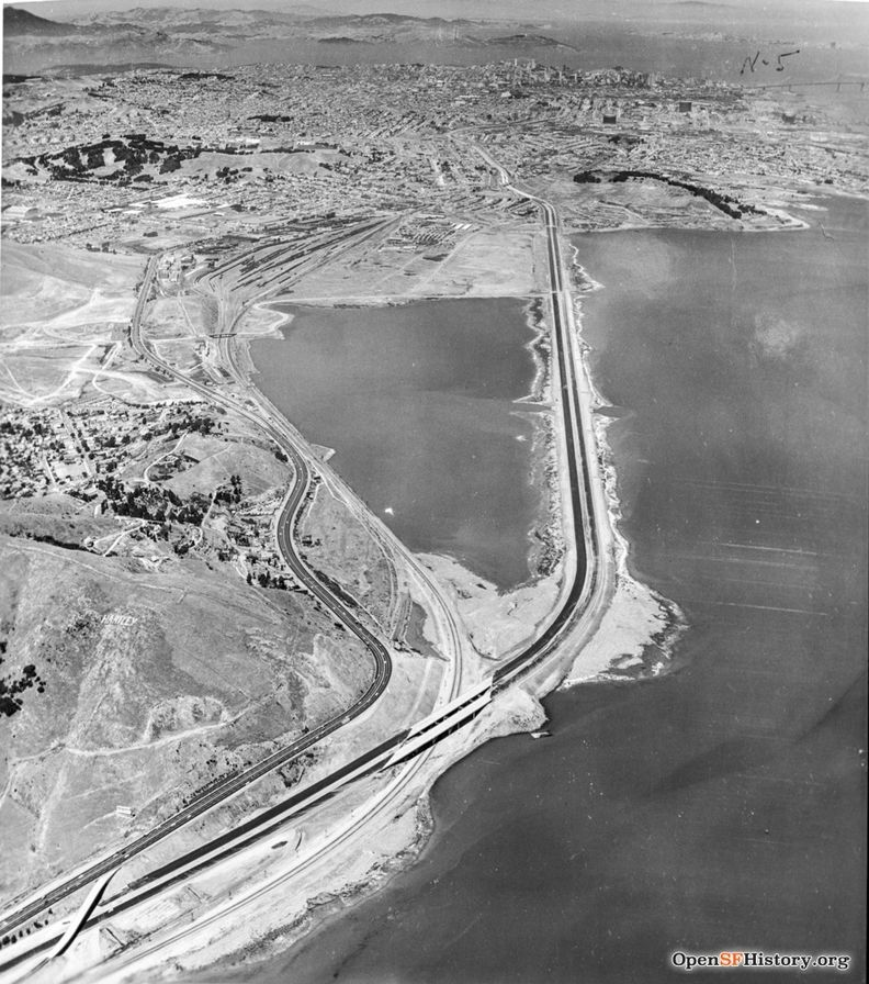 C1952 View north at US101, Candlestick Causeway toward Brisbane and San Francisco. Candlestick Park is not yet built.wnp37.02183.jpg
