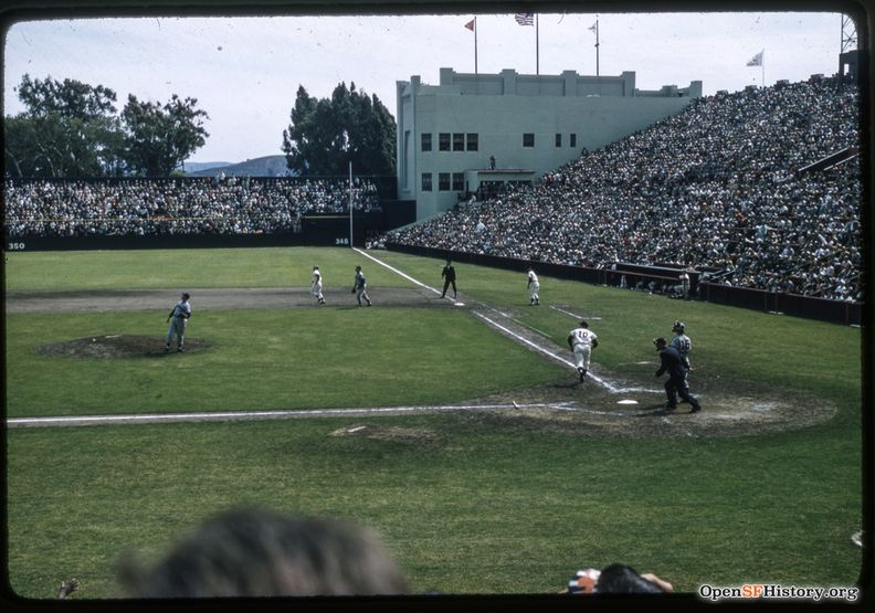 Ray Jablonsky -10 gets a hit, Willie Mays on 1st, Giants June 1958 wnp25.1349.jpg