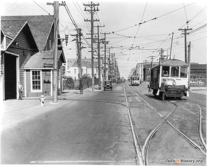 3rd near 24th 1921 30-line MSRY car 707. Kentucky Car House on the left. 3rd St was called Kentucky until 1909 wnp27.4776.jpg